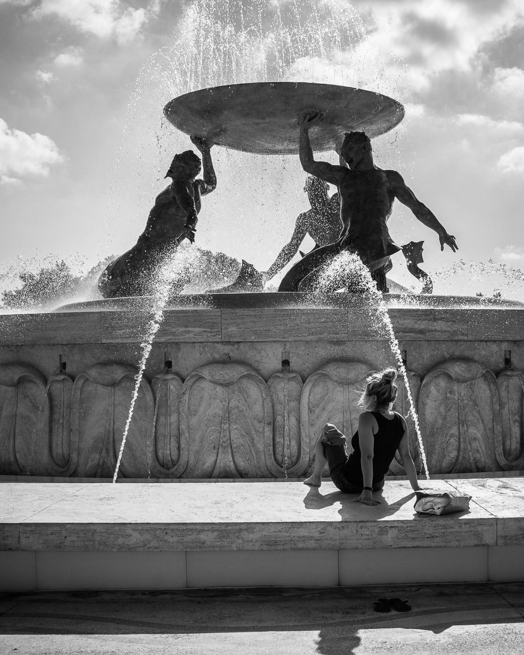 Enjoying the Tritons' Fountain