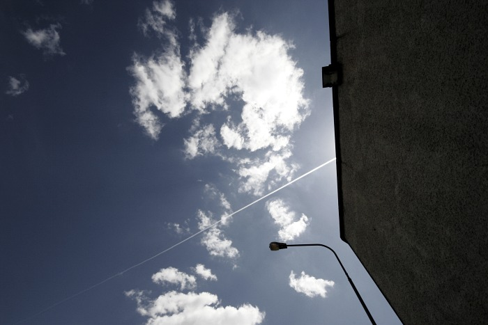 Blue skies contrail and clouds